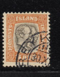 Iceland Sc O33 1907 5 aur Two Kings Official stamp used