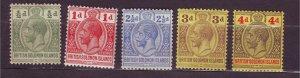 J23732 JLstamps 1913-24 solomos islands mh #28-9,31-3 king w/better 32