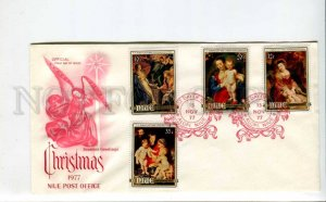 293399 NIUE 1977 year First Day COVER CHRISTMAS Angel painting