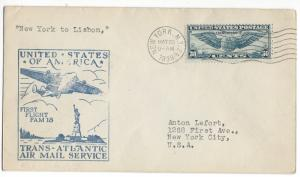 United States, F18-1B, First Flight Cover, New York-Lisbon Portugal FAM 18, Used