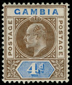 GAMBIA SG50, 4d brown & ultramarine, LH MINT. Cat £10. WMK CA
