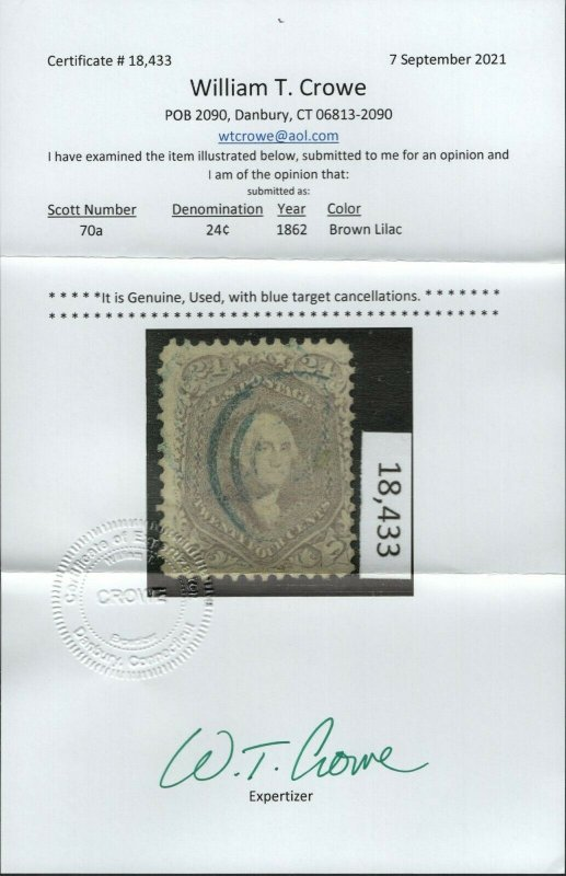 $US Sc#70a used fine brown lilac, Crowe Cert, Cv. $350
