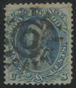 #72 90c 1861 (VF) WITH SAN FRANCISCO COGWHEEL CANCEL CV $575 BV717
