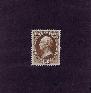 SC# O78 UNUSED ORIGINAL GUM 12 CENT OFFICIAL TREASURY STAMP, 1873 VF XF