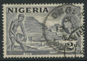 Nigeria -Scott 93 - QEII Definitive Issue -1956 - Used - Single 2p Stamp