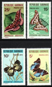 1971 Gabon Butterfly complete set of four MNH Sc# 272 / 275 CV $22.00