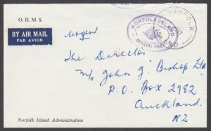 NORFOLK IS 1967 Official cover to New Zealand...............................M632
