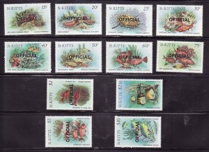 St Kitts-Sc#O29-O40- id7-unused NH official set-Fish-Marine Life-1984-