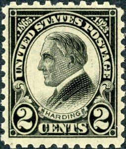 #612 – 1923 2c Harding, black, perf 10. MLH. OG. VF.