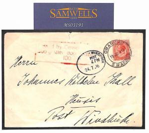 MS3191 1916 WW1 SOUTH WEST AFRICA Omaruru to Windhoek Cover. Censor