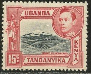 KUT Sc#72b (SG#137) 1938 KGVI 15c Perf Variety Mint Hinged