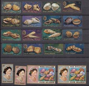 J28390, 1974-5 cook islands short set mnh #381-400 queen/sea shells