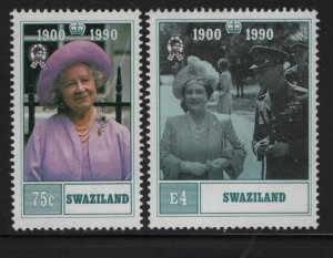 SWAZILAND 565-566, Hinged, 1990 Queen mother 90th birthday