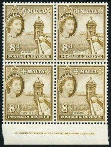 Malta SG275 8d Bistre-brown U/M imprint Block
