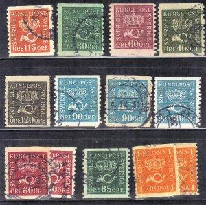 SWEDEN stamp lot #8 CROWN & POST HORN   SEE SCAN