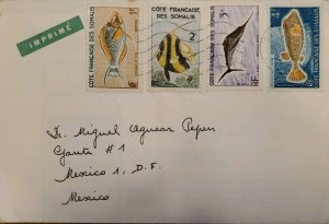 J) 1967 SOMALIA, FRANCE, FISH, MULTIPLE STAMPS, AIRMAIL, CIRCULATED COVER, FROM