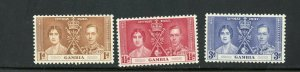 GAMBIA CORONATION OF GEORGE VI 1937 SC# 129-131  MINT NH AS SHOWN