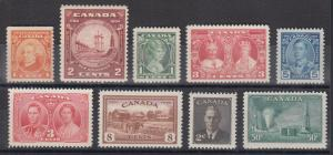 Canada Sc 141/294 MNH. 1927-1950 issues, 9 different, F-VF or better