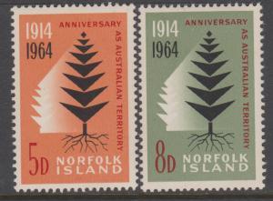 Norfolk Island 1964 Pine Tree Set Sc#66-67 MNH