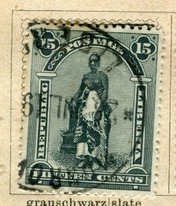 LIBERIA; 1896 early Pictorial issue fine used 15c. value