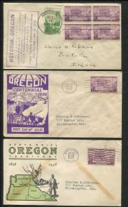 Lot of 5 First Day Covers 1936 Oregon Centennial Astoria Lewiston ID Stamp #783