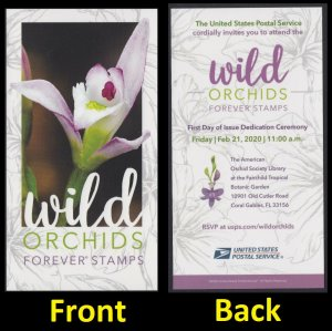 US Wild Orchids First Day of Issue Ceremony Invitation 2020