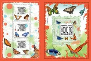 Guinea 2013butterflies insects klb+s/s MNH