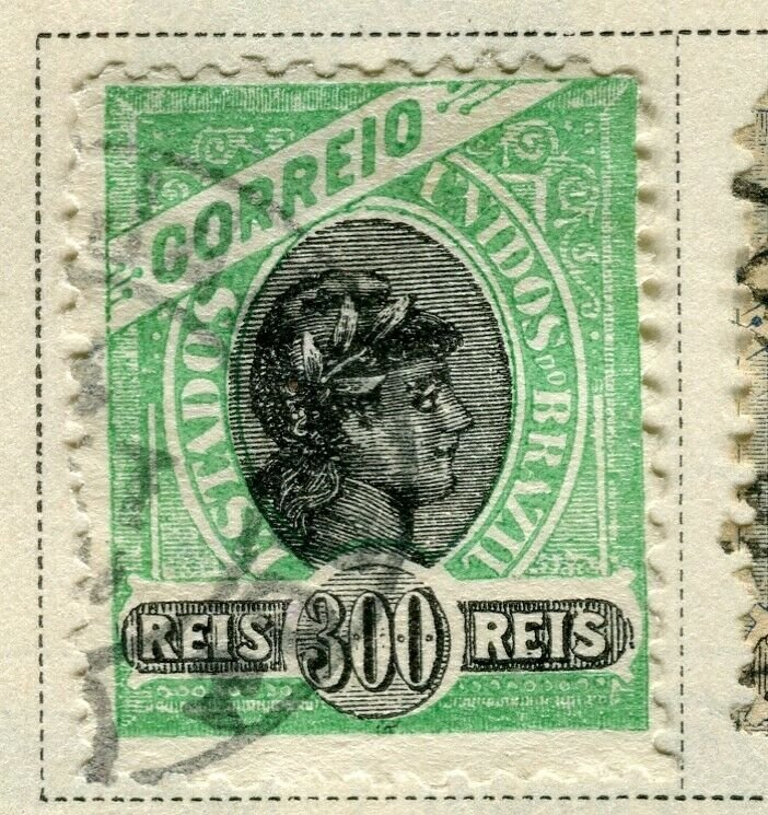 BRAZIL; 1894 early classic issue fine used 300r. value