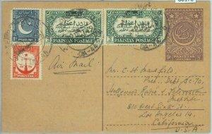 86178 - PAKISTAN - Postal History - Stationery CARD w/ added stamps to USA 1949