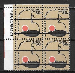 United States 1608 50c Lamp Zip Block PRE-CANCEL MNH