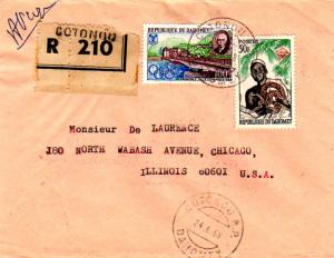 Dahomey 50F Ouidah Witch Doctor and 100F Grenoble Winter Olympics 1968 Cotono...