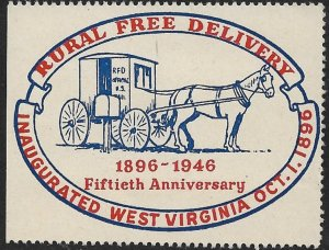 USA 1946 RURAL FREE DELIVERY WEST VIRGINIA Anniversary Label MNH