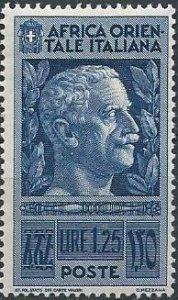 Italian East Africa 13 (mhr) 1.25 l Victor Emmanuel III, dp blue (1938)