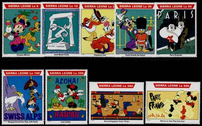 Sierra Leone 1470-81 MNH Disney World Tour, Mickey Mouse, Pluto, Goofy