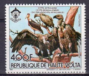 Upper Volta 1984 Mi#962A Gyps africanus/Scouts/WWF/w logo Single Perforated MNH