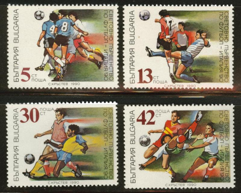 BULGARIA Scott 3527-30 MNH** 1990 World Soccer championship