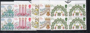 Great Britain Sc 928-32 1980 Christmas stamp set blocks of 4 mint NH