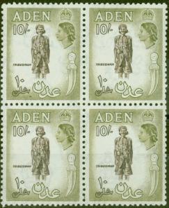 Aden 1953 10s Sepia & Olive SG69 V.F MNH Block of 4
