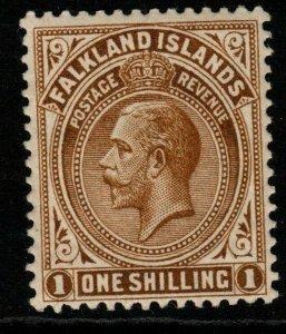 FALKLAND ISLANDS SG65b 1920 1/= BROWN THICK PAPER MTD MINT