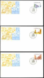 Canada Sc# 723-725 (Official) FDC Set/3 (a) (singles) 1978 7.6 Street Scenes