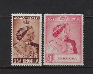 BERMUDA SCOTT #133-34 1948 GEORGE VI SILVER WEDDING- MINT LOW VALUE NH/TOP LH