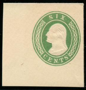 #U13 SUPERB GEM -- FULL CORNER -- 1853 6¢ GREEN CUT SQUARE BT1422