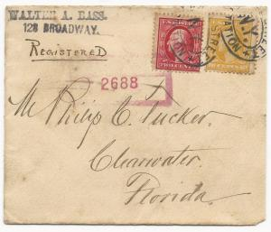{ US Registered Cover Scott #375, 381 Broadway, NY to Clearwater, FL