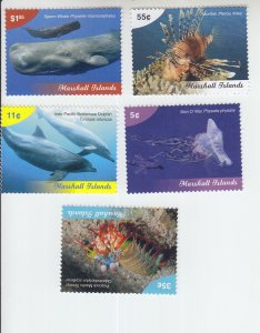 2019 Marshall Is Marine Life (5) (Scott 1229-33) MNH
