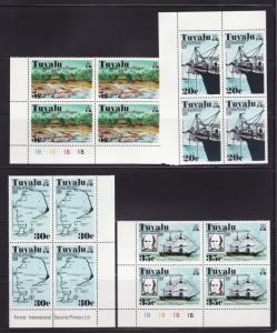 Tuvalu 54-57 Corner Blocks of 4 Set MNH Various (B)