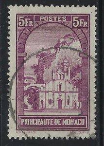 Monaco 1932 5F Violet Church of St Devote Sc# 128 used