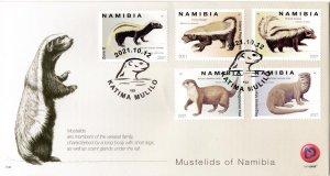 Namibia - 2021 Mustelids Otter Weasel Badger Polecat FDC