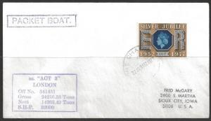 1981 Paquebot Cover, British stamps used in Port Chalmers, New Zealand