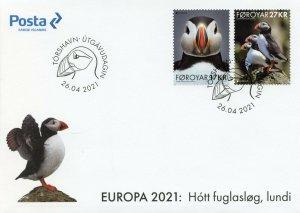 Faroes Faroe Isl Europa Stamps 2021 FDC Endangered Natl Wildlife Puffins 2v Set