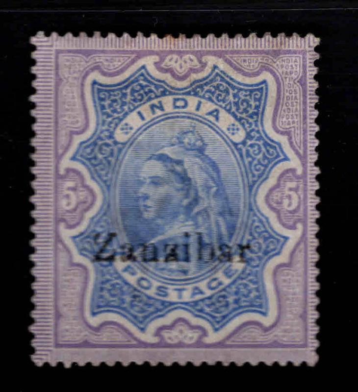 Zanzibar Scott 16 MH* 1895 Queen Victoria perf tips toned at collectorsl mark